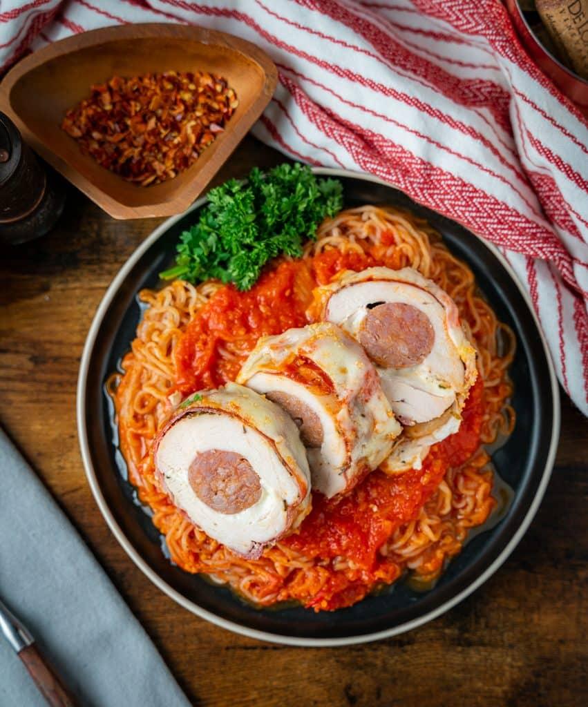 Keto stuffed chicken parmesan with sausage and fresh mozzarella