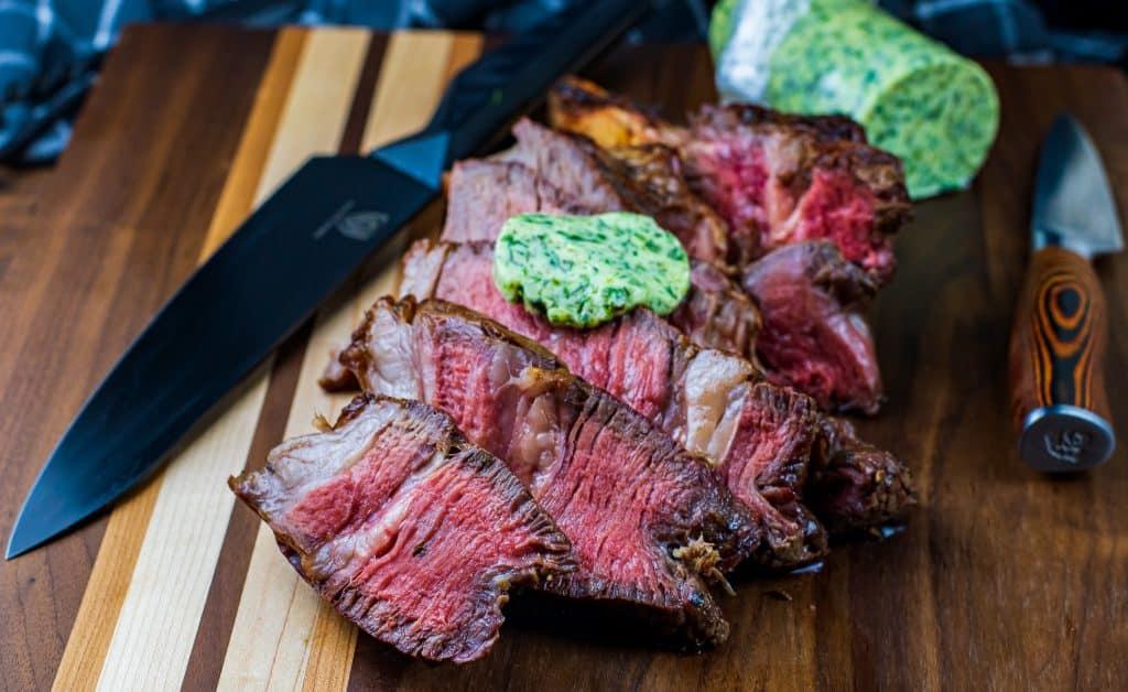 Garlic herb compound butter recipe for grilled steak