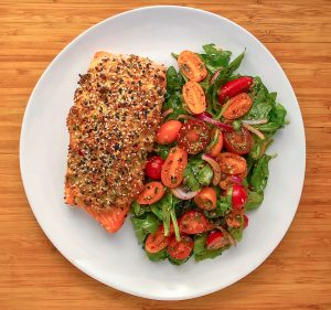 Low Carb Everything Salmon w/  Heirloom Tomato Salad
