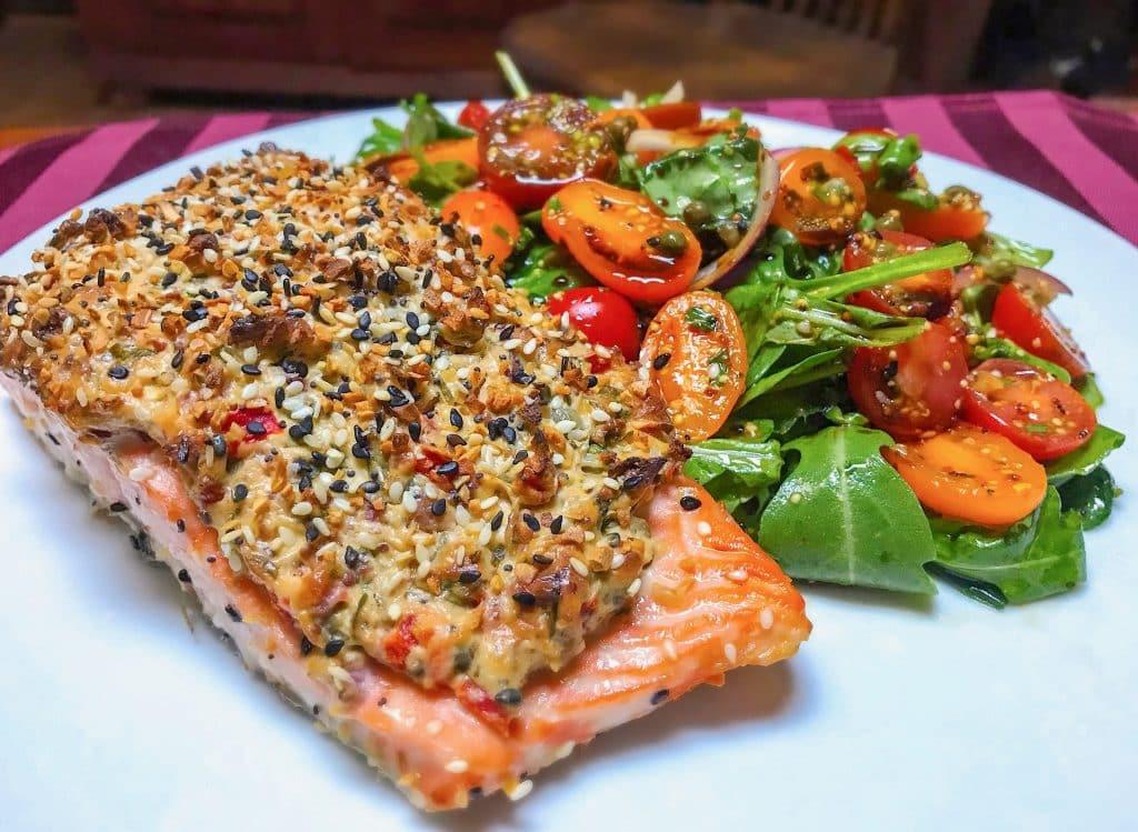 Everything Salmon with heirloom tomato salad