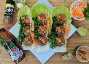 Banh Mi Meatballs w/ Napa Cabbage Lettuce Cups