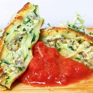 Zucchini Fried Ravioli low carb recipe with marinara spinach and sausage