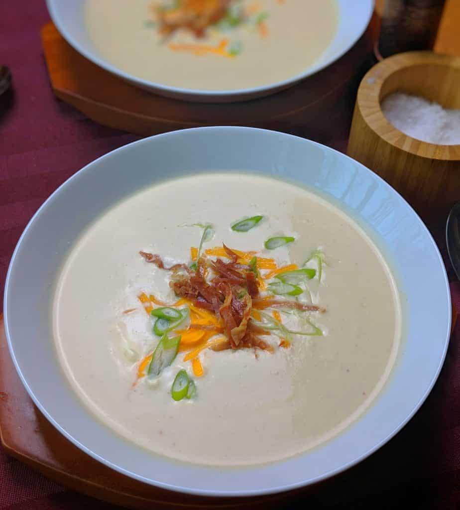 five cheese cauliflower soup