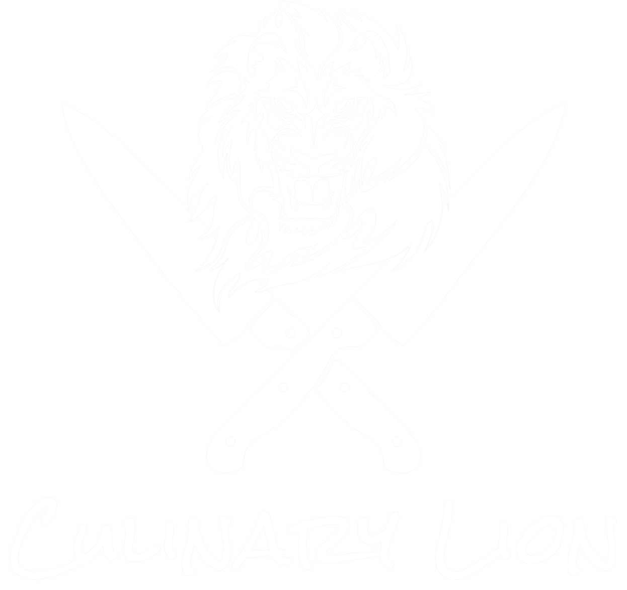 Culinary lion - lion's head with crossed knives