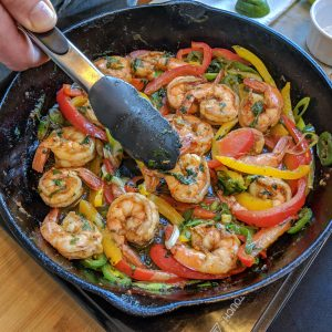 Tequila lime shrimp fajitas