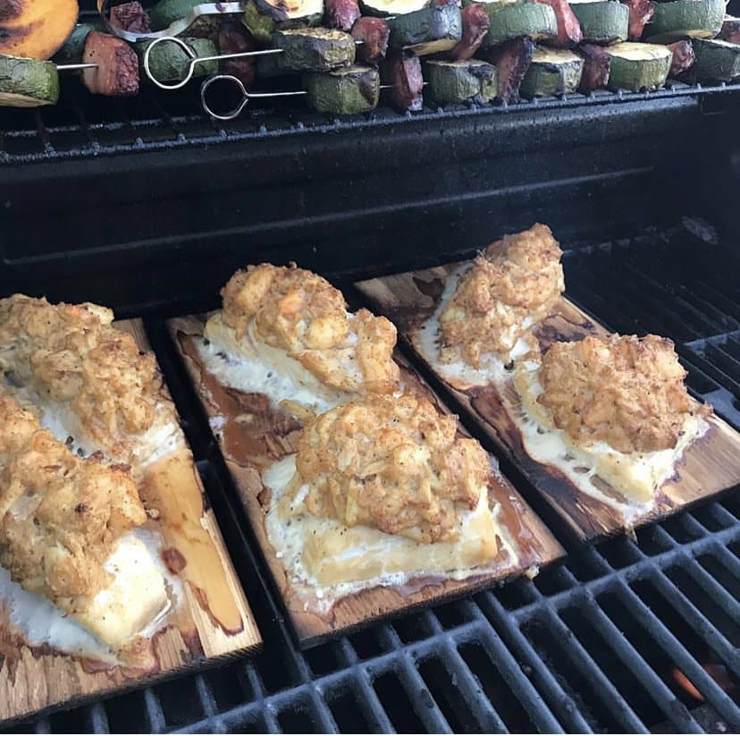 Halibut stuffed with crab meat