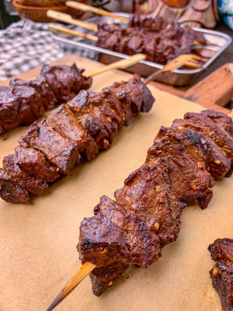 beef heart skewers