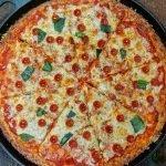Sliced Keto Pan Piza-Pizza Hut Copycat