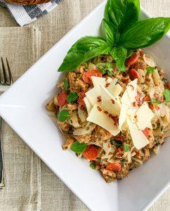 Keto Cut Meals: Spicy Sausage Fettuccine Alfredo