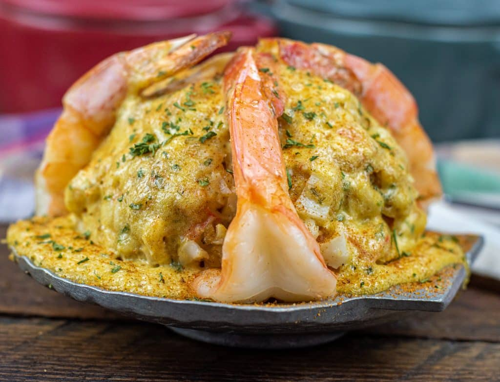 Keto seafood imperial recipe shrimp and crab topped with low carb imperial sauce dusted with old bay seasoning