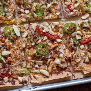 Cut da carb Thai chicken pizza