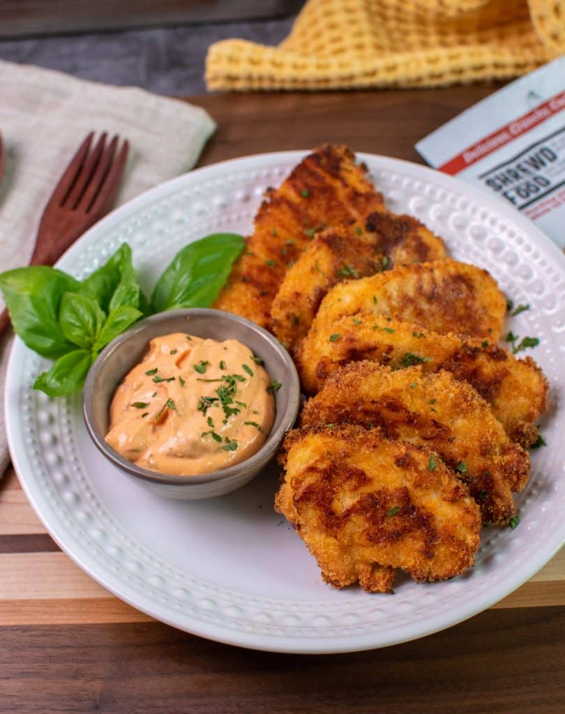 Shrewd Foods Brick oven Pizza flavored Chicken tenders with Calabrian Chile Aioli