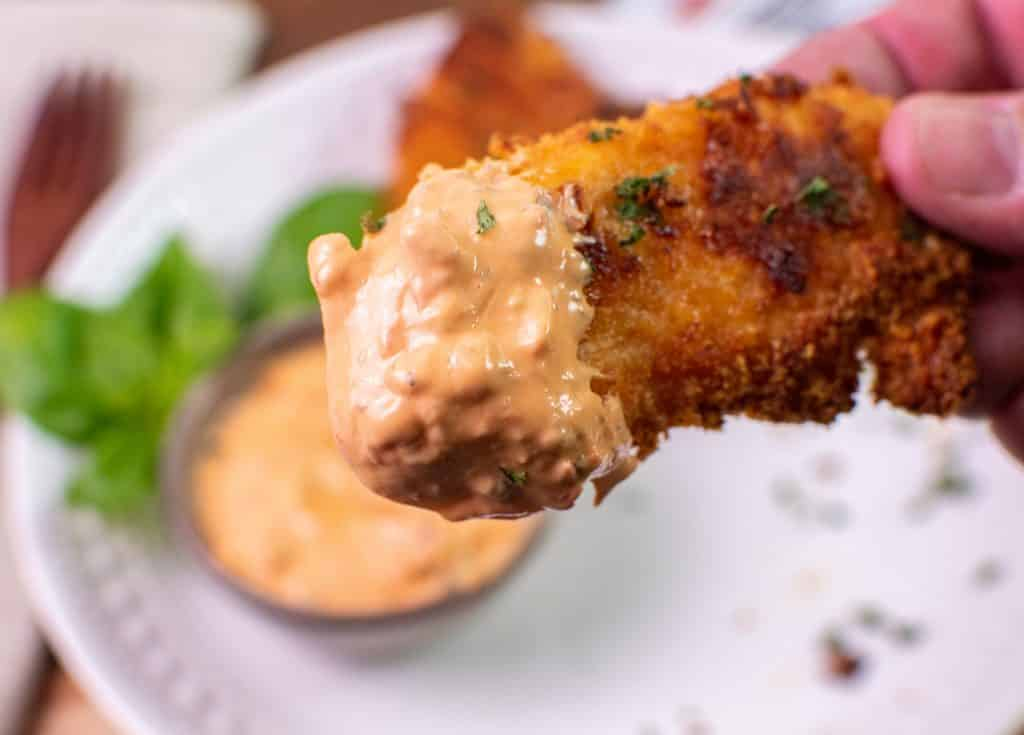 Keto Chicken Tender Dipped in Calabrian Chile Aioli