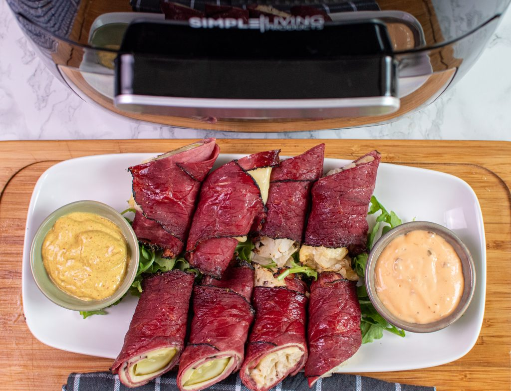Air fryer pastrami roll ups with spicy mustard and Russian dressing