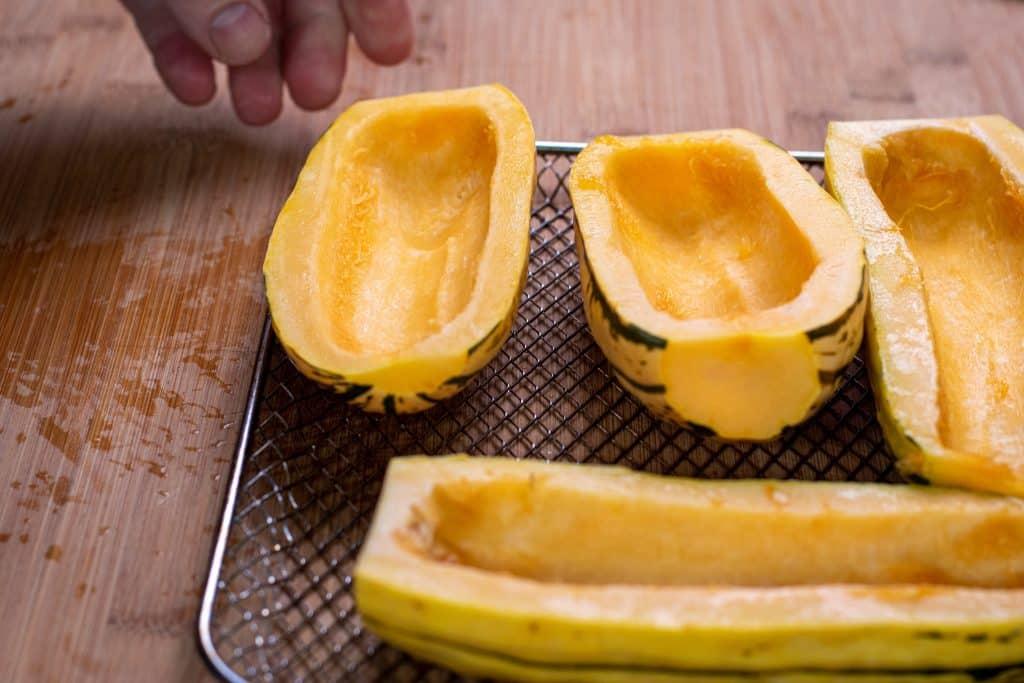 Delicata squash cut in half