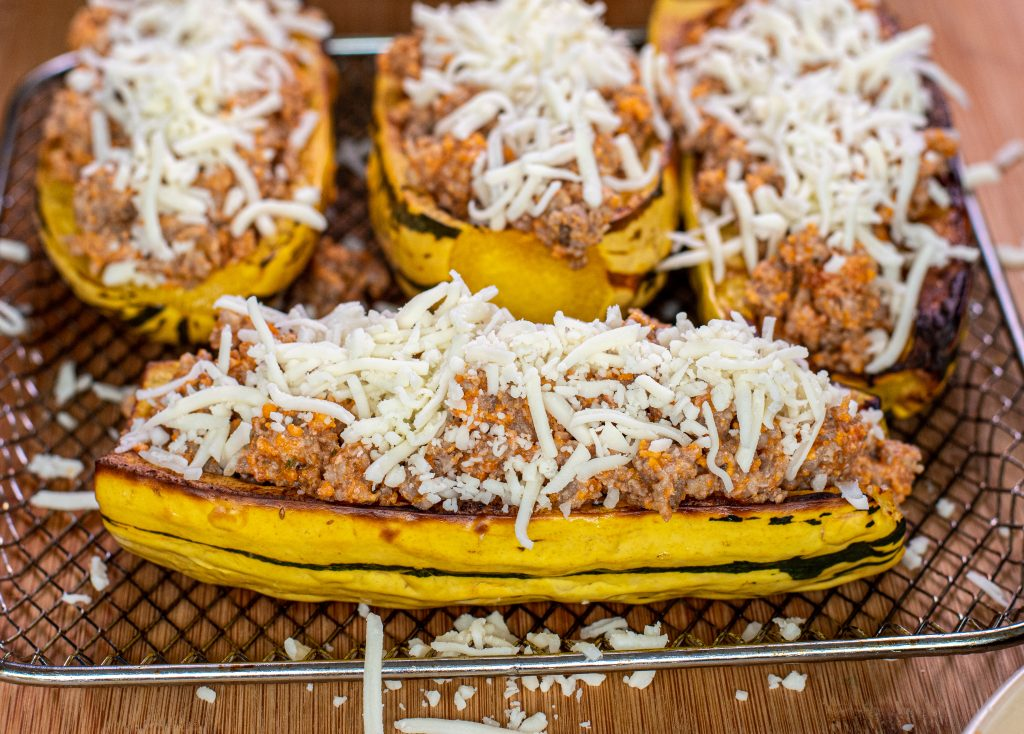 delicata squash stuffed with Italian sausage and cheese