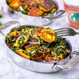 Saag Paneer in an all clad serving dish