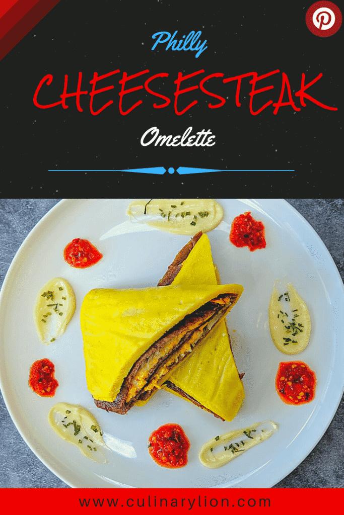 Philly cheesesteak Omelette Pintrest thumbnail
