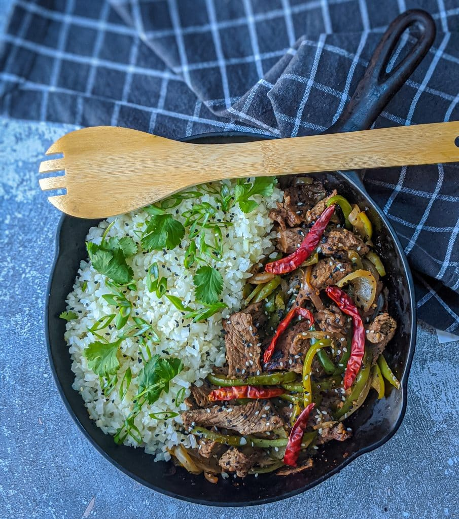 pepper steak served in a cast iron skillet from above