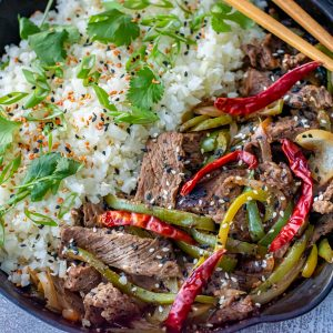Low carb pepper steak in cast iron skillet