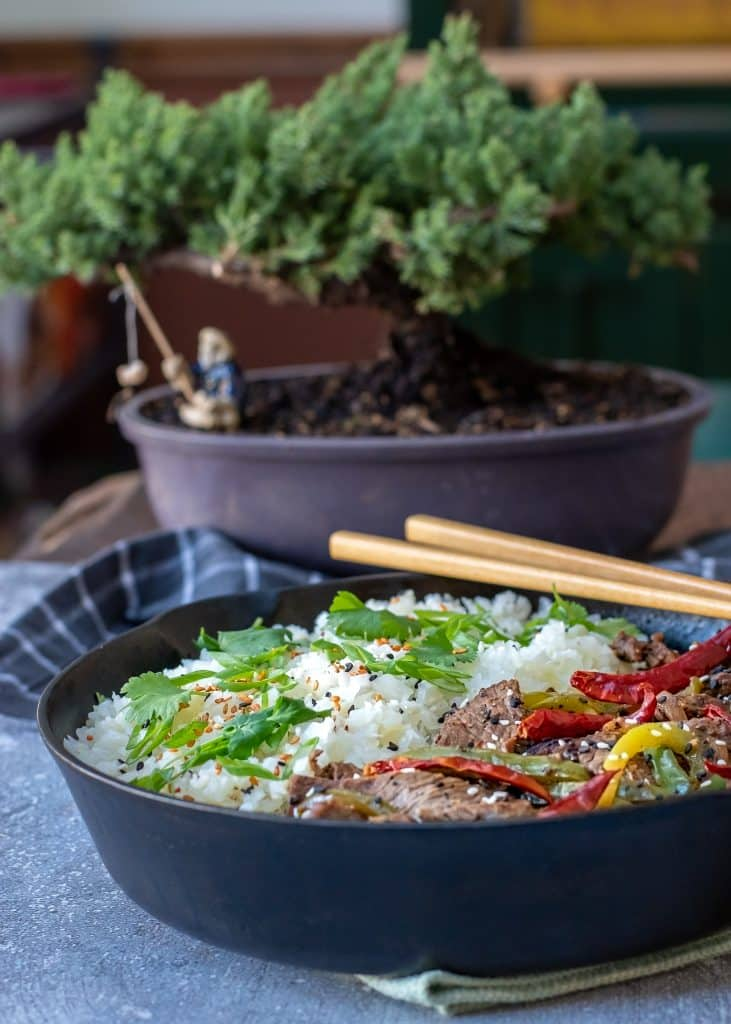 pepper steak served in a cast iron skillet with a bonsai tree in the background