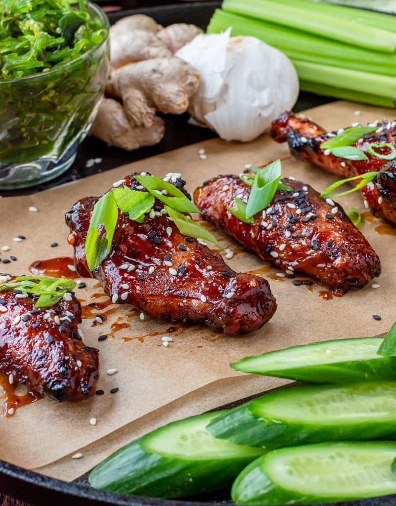 Vietnamese sticky wings with asian bbq sauce