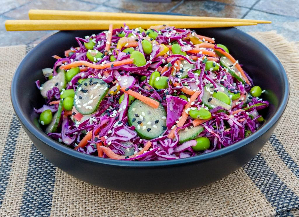 low carb asian slaw recipe with creamy cilantro lime dressing