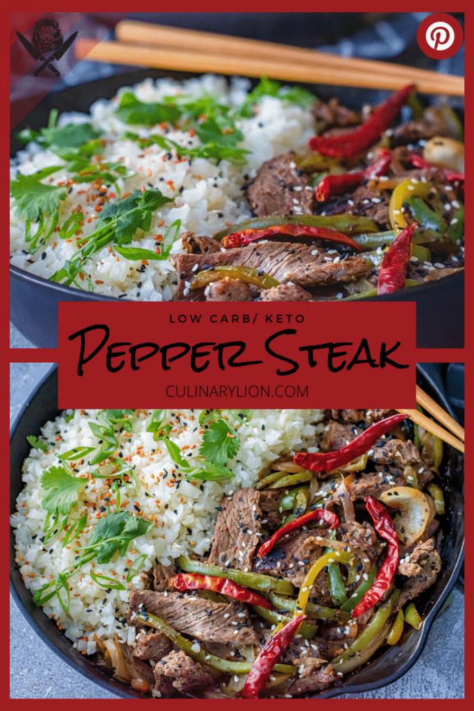 Low carb Pepper steak pinterest thumbnail