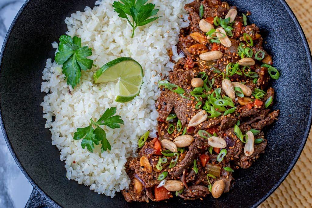 Kung Pao Beef with riced cauliflower