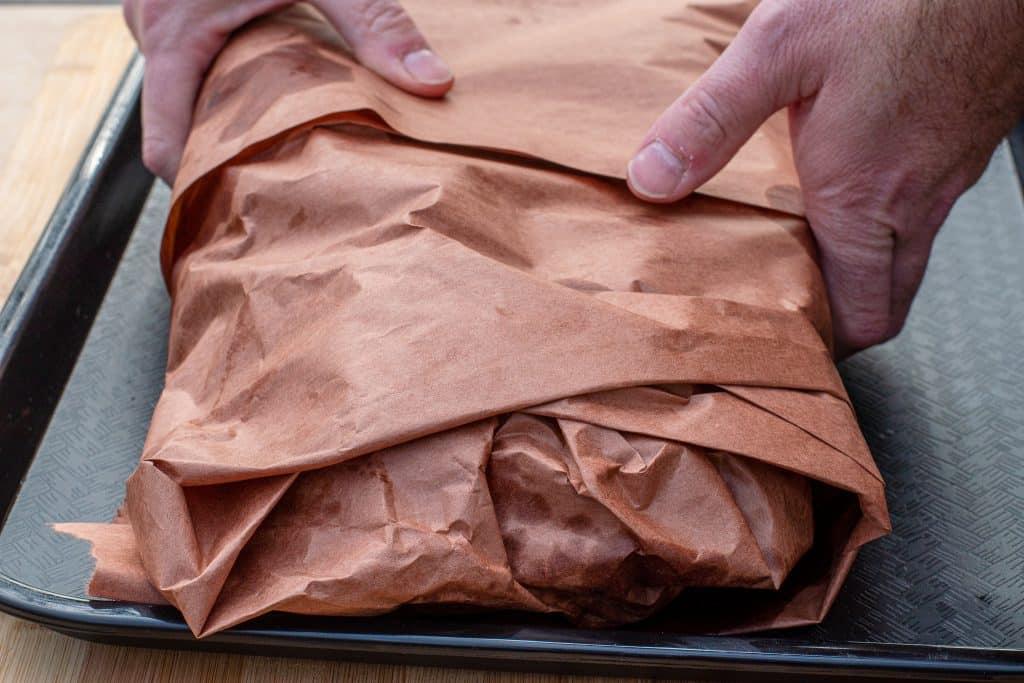 texas brisket wrapped in peach butcher paper