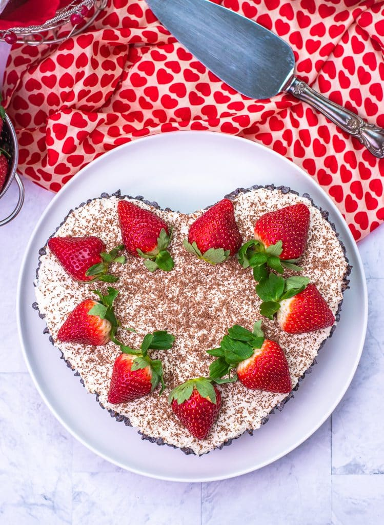 No bake cannoli cheesecake heart shaped low carb dessert