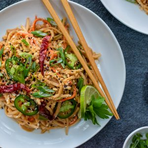 Hearts of Palm cold sesame noodles with peanut sauce