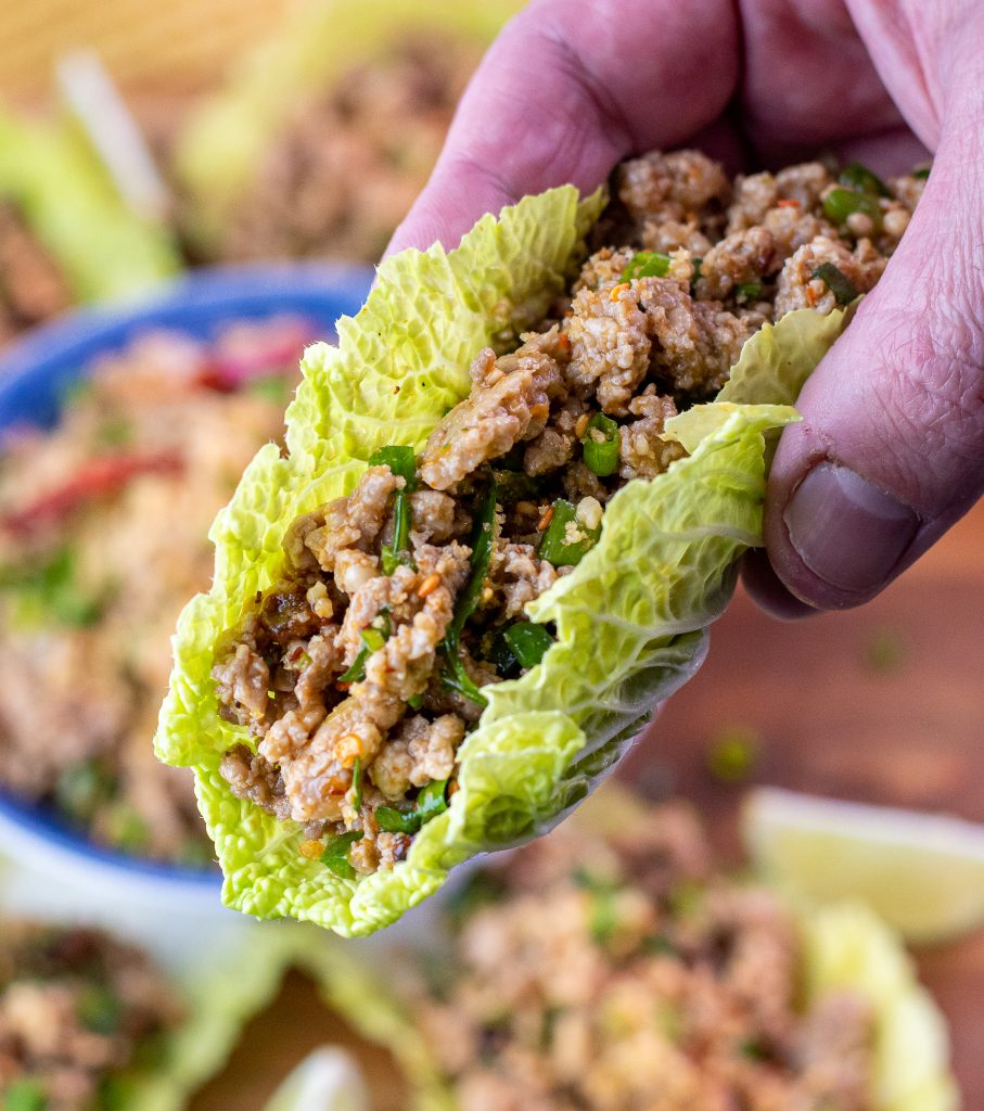 Pork larb lettuce cup with Napa Cabbage