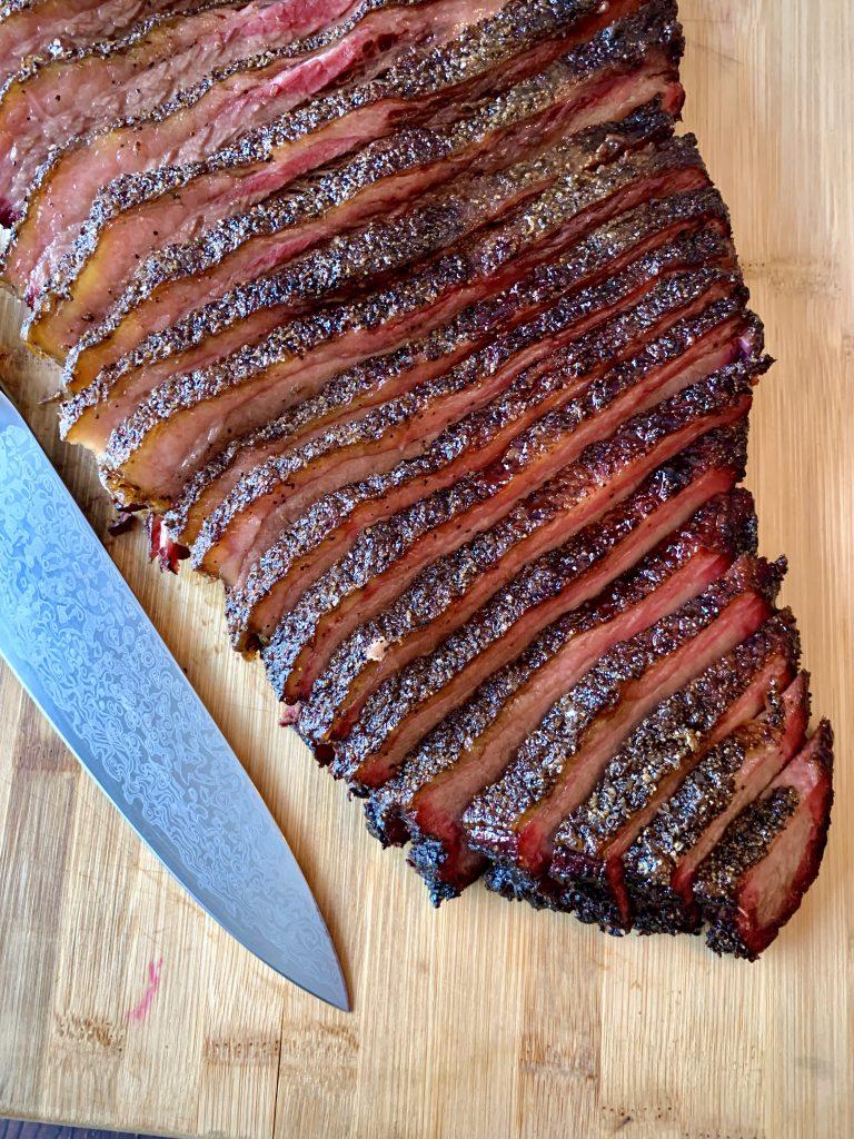 Pellet Grill Brisket Texas Style slices