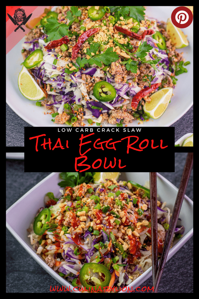low carb crack slaw thai egg roll bowl