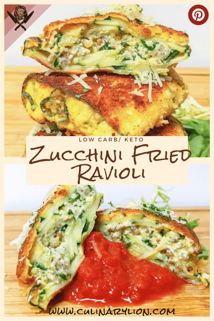 low carb fried ravioli with zucchini spinach and sausage