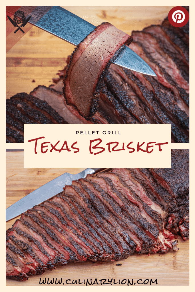 Texas brisket cooked on a pellet grill pinterest