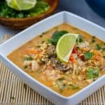 Keto Tom Yum Soup with chicken and miracle rice