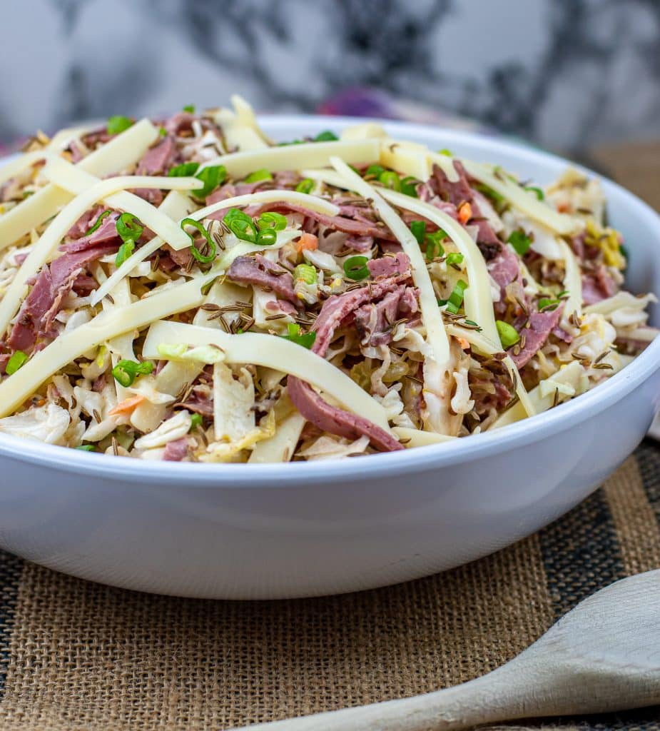 Reuben coleslaw with corned beef cabbage and Swiss cheese