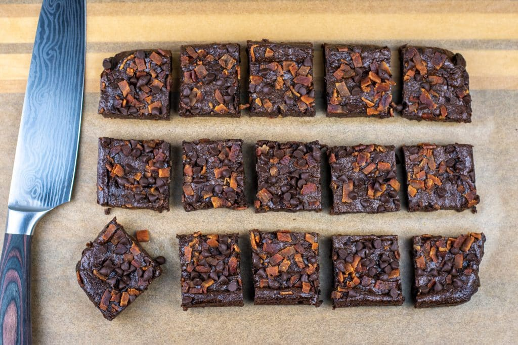 flourless low carb bacon avocado brownies topped with ChocZero chocolate chips