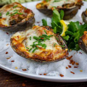 jumbo keto clams casino w/ provolone cheese