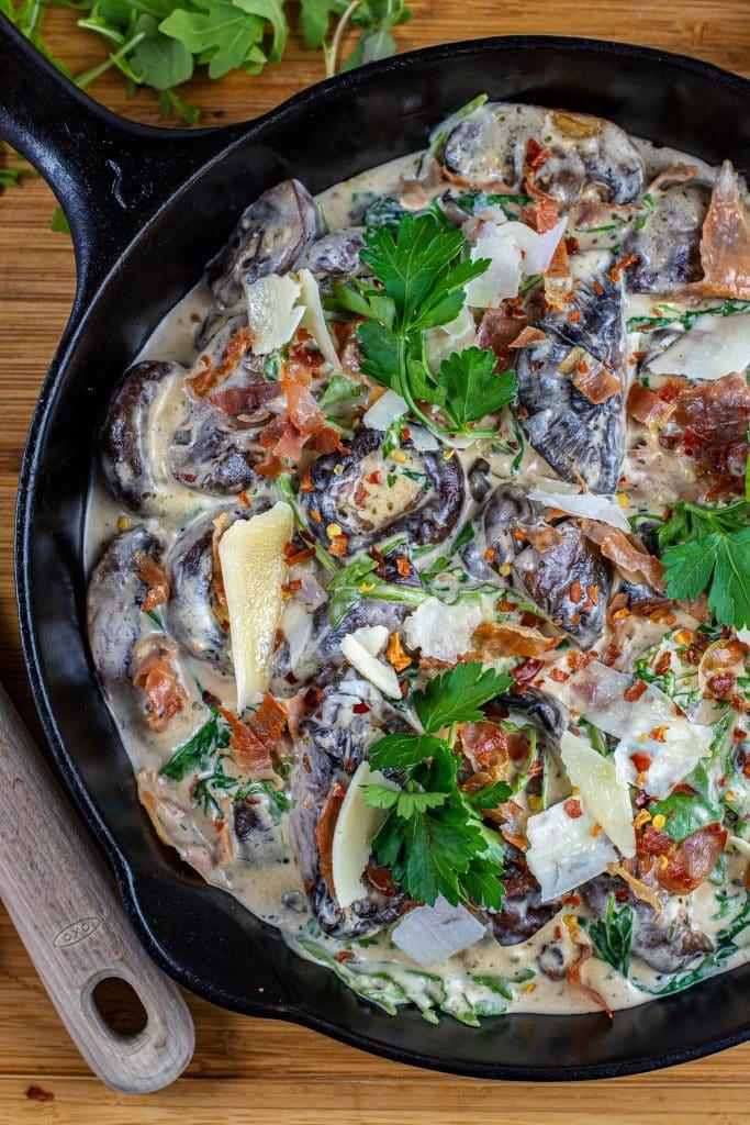 Creamy Parmesan & Prosciutto Mushrooms keto side dish