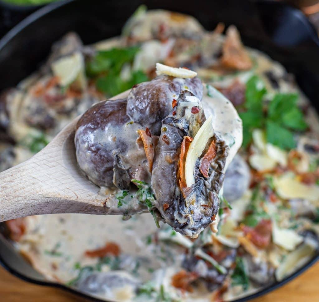 serving of Creamy Parmesan & Prosciutto Mushrooms