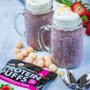 Keto Strawberry crunch chia seed pudding with shrewd foods protein puffs