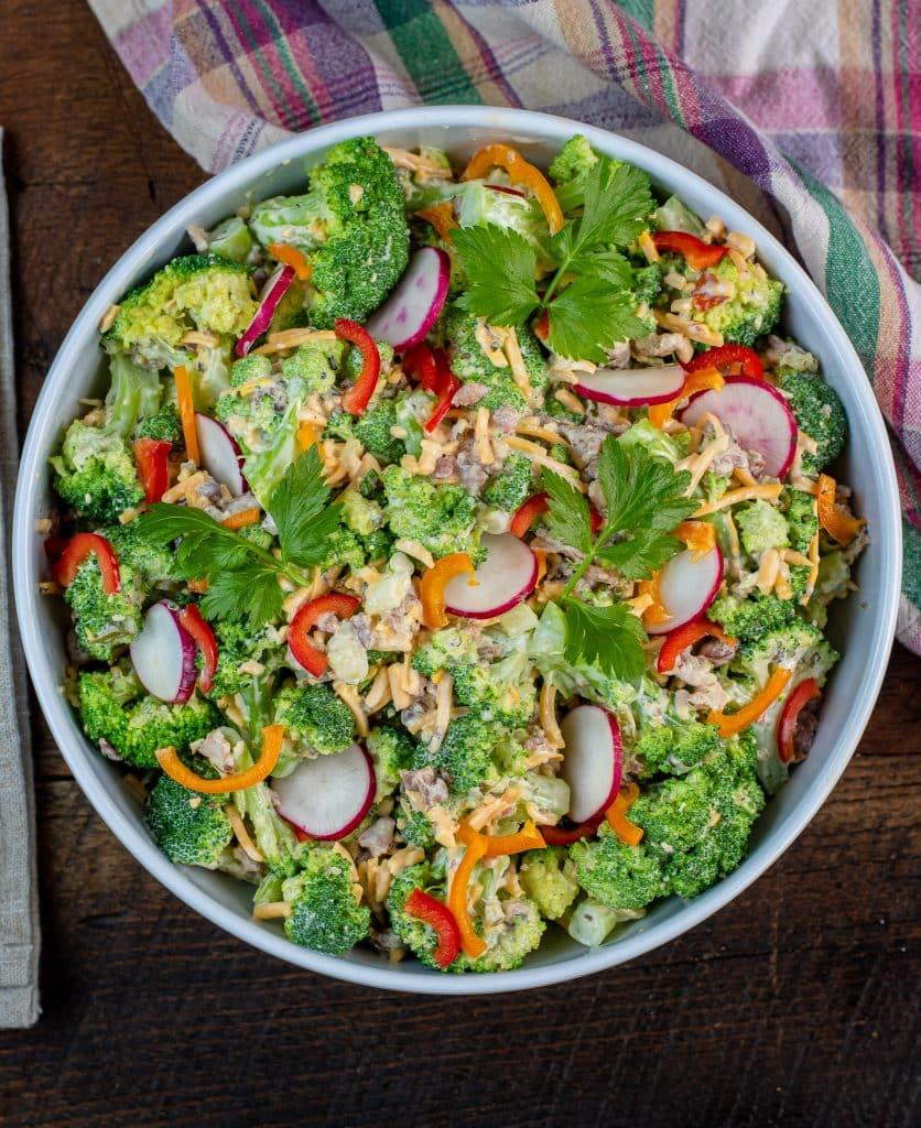 keto bacon cheddar ranch Broccoli salad