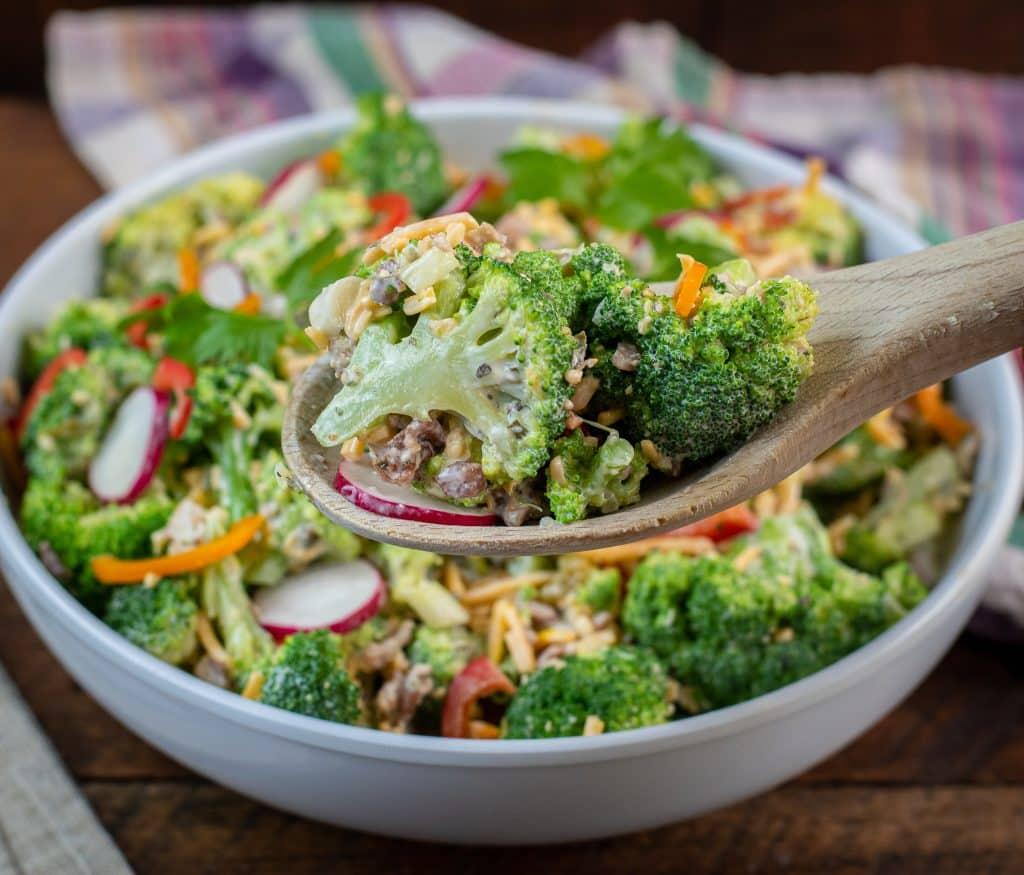 Keto friendly Broccoli salad with cheddar bacon ranch