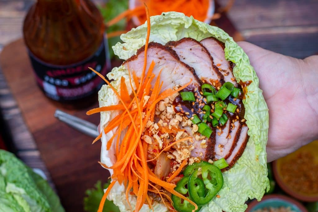 smoked pork loin lettuce cups with kimchi chopped peanuts and asian bbq sauce, Keto Low carb