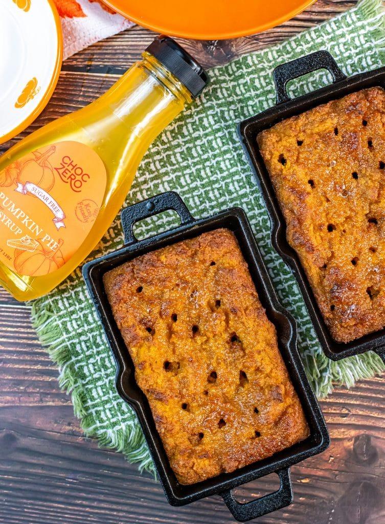 pumpkin bread in mini cast iron loaf pans with choczero pumpkin syrup