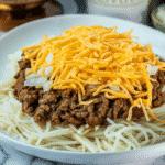 keto Cincinnati Chili with hearts of palm noodles