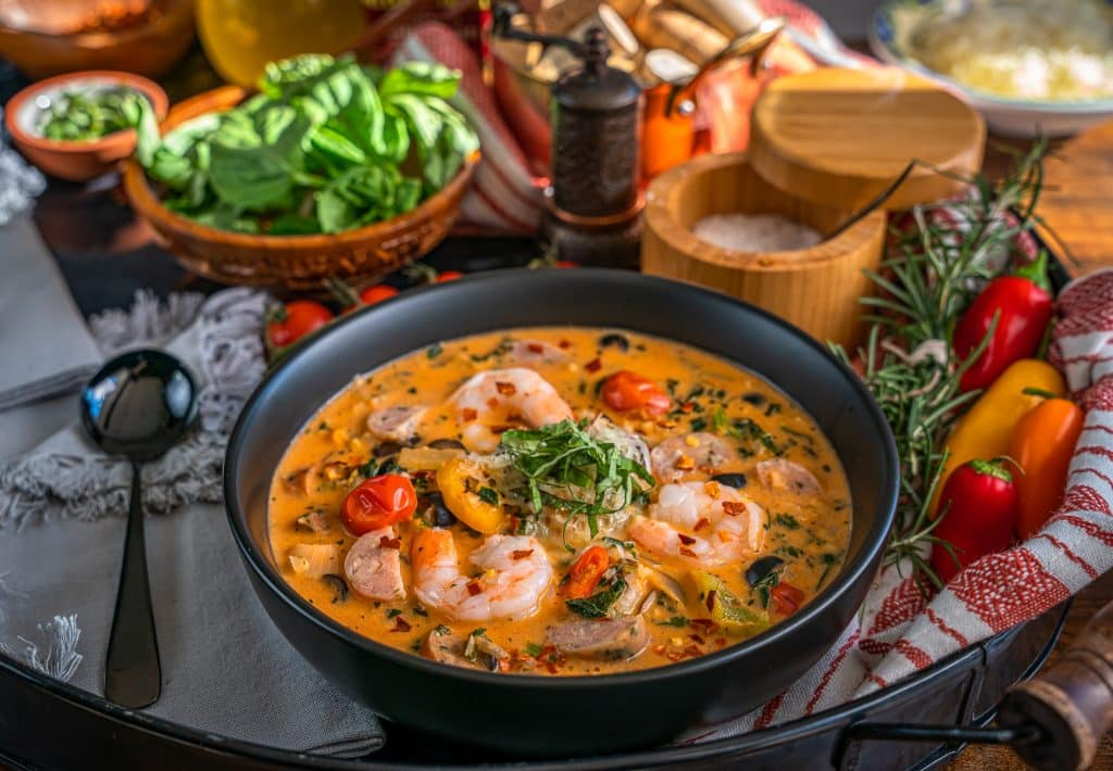 Keto friendly tomato soup with Calabrian Chiles, sausage and shrimp